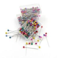 彩色珍珠针大头针固定针服装裁缝定位针diy工具配件盒装立裁细针 盒装【随机100枚】