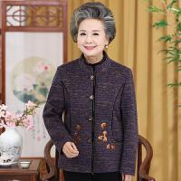 中老年女装秋外套中年妈妈装立领刺绣长袖毛呢外套50-60岁奶奶装