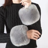 冬季大毛毛袖套腕袖口套袖仿皮草手套防风袖口护袖腕套手圈女冬