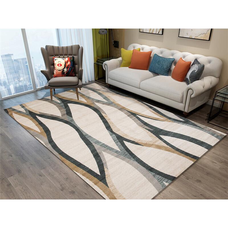 北欧几何图案地毯客厅茶几毯简约现代房间卧室满铺家用地毯可水洗 乳白色 5