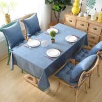 桌布布艺茶几垫台布桌旗长方形小清新雪尼尔餐桌布椅套椅垫套装
