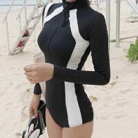 新款二件套防晒长袖泳衣女拉链保守钢托聚拢学生修身连体温泉泳装 黑色(带钢托文胸)