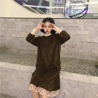 韩观秋冬女装韩版气质中长款蕾丝拼接打底裙金丝绒宽松加厚长袖连衣裙 均码