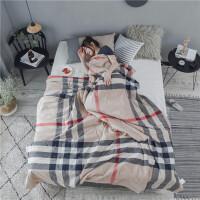 家纺纯棉水洗棉夏凉被 简约日式条纹格子薄被子可水洗全棉空调被Y