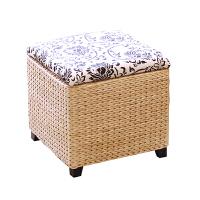 藤草编收纳凳储物换鞋凳有盖整理收纳箱穿鞋搁脚凳沙发长方凳