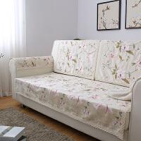 美式刺绣欧式田园防滑沙发垫布艺坐垫厚沙发巾仿亚麻四季定做垫子