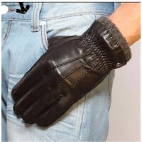 时尚新款羊皮手套 大气男士保暖真皮手套/羊绒里简约款潮 可礼品卡支付