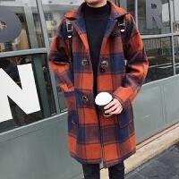 冬季中长款格子毛呢大衣男韩版宽松青年呢子风衣潮流妮子外套帅气 图色