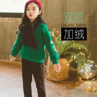 女童装秋冬装套装新款韩版时尚洋气儿童加绒加厚卫衣套冬