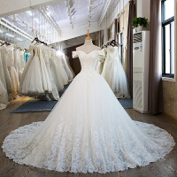 婚纱礼服秋季新款新娘一字肩婚纱长拖尾韩版甜美大码显瘦婚纱 白色 拖尾100cm