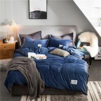 加厚珊瑚绒四件套韩版法兰绒冬季双面绒法莱绒被套床上用品 2.0m床(被套:220*240cm 床单:245