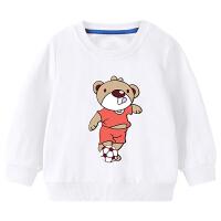 男童卫衣纯棉新款宝宝休闲白色运动上衣春秋季儿童卡通衣服