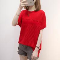 红色洋气短袖针织衫女2021年夏季大码女装减龄宽松打底衫上衣百搭