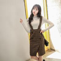 高腰包臀裙半身裙秋冬韩版修身显瘦格子一步裙中长款毛呢背带裙子