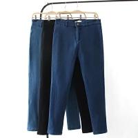 大码女装裤子冬季新款胖MM加肥加大高腰弹力加绒修身一粒扣小脚裤