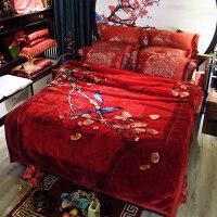婚庆珊瑚绒毛毯结婚双层毯子大红色双人加厚盖毯被子毛毯春秋绒毯 200x230cm
