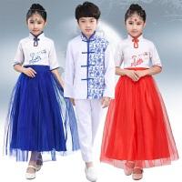 儿童演出服青花瓷大合唱服装女古筝表演服舞蹈服长裙男女