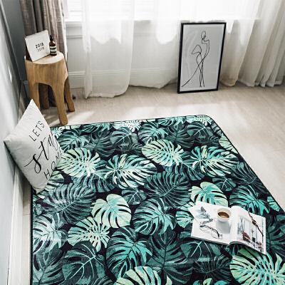 北欧潮牌地毯卧室加厚客厅地垫茶几飘窗爬行垫季家用垫子可定制SN8062 绿色 清新绿叶(M) 发货周期:一般在付款后2-90天左右发货,具体发货时间请以与客服协商的时间为准
