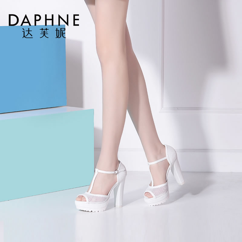 Daphne/达芙妮春夏季新款 镂空超高跟防水台休闲露趾逛街凉鞋