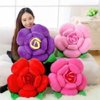 创意礼物靠背沙发汽车玫瑰花抱枕靠垫花朵可爱毛绒玩具