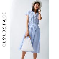 【2件8折/3件75折】云上生活2019夏新款收腰中长款条纹裙子V领气质连衣裙女L0803