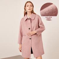 【2.5折价:675元】红袖羊绒大衣女冬装新款韩版气质修身中长款双面毛呢外套