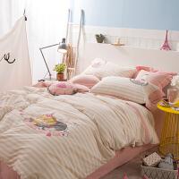 家纺水洗棉四件套 全棉纯棉女孩1.8m儿童1.2米床三件套床上用品 萌宠派对
