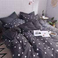 棉床上黑白波点床单四件套棉条纹被套1.51.8床笠2.0米三4件套
