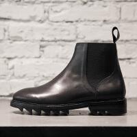 马丁靴男英伦风沙漠靴子尖头秋冬 短靴切尔西靴时尚韩版潮流 黑色