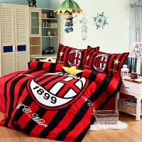 AC米兰足球迷床上用品 全棉活性印花球队四件套被套床单 AC米兰