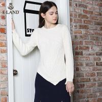 ELAND时尚韩版不规则衣摆纯色麻花圆领毛衣针织衫上衣女EEKW74V02D