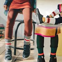 2018童装冬季韩版女童加绒打底裤纯棉百搭裤脚口罗纹儿童加厚裤子