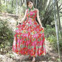 民族风女装 被单布无袖背心连衣裙 东北大花中长款沙滩裙
