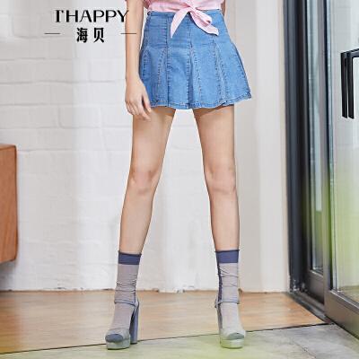海贝2018夏装新款女 高腰蓝色百褶裙牛仔半身裙A字短裙防走光裤裙