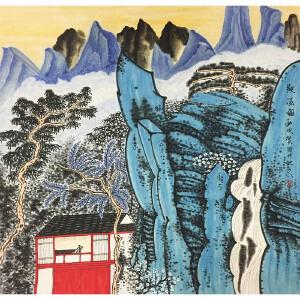 许俊《观瀑图》著名画家