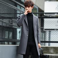 毛呢大衣男中长款韩版修身帅气风衣青年学生英伦冬季加厚呢子外套