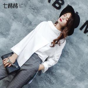 七格格衬衫女长袖秋装新款韩版宽松百搭洋气chic中长款黑白色上衣潮