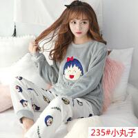 韩版加厚珊瑚绒睡衣女冬季长袖学生可爱卡通法兰绒家居服保暖套装