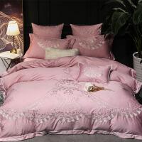 藕粉色女神款60贡缎棉刺绣婚庆床品四件套棉结婚床上用品套件 MDS-黛纳