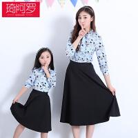 2018春秋新款母女套装裙韩版甜美复古亲子装两件套