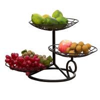 时尚三层水果盘客厅欧多层干果盘现代简约创意水果篮零食点心盆午茶点心果盘架装饰