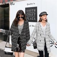 七格格毛呢外套女韩版宽松格子上衣2019新款冬季中长款呢子大衣潮