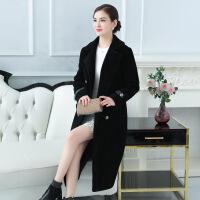 2017秋冬季海宁羊毛羊剪绒大衣女时尚气质 中长款反季皮草外套