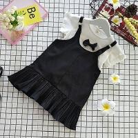 女童夏季背带裙套装新款宝宝蝴蝶结打底衫吊带连衣裙中小童套