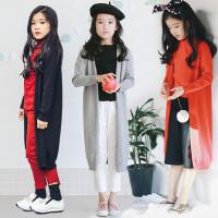 女童针织衫开衫春秋装新款上衣韩版童装中大童毛衣外套中长款