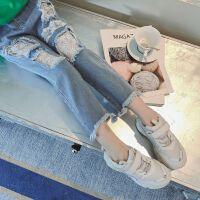 女童牛仔裤时髦春秋装新款弹力舒适拼蕾丝儿童洋气破洞长裤潮