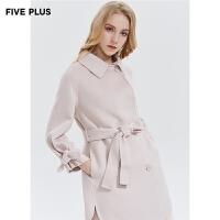 Five Plus新款女秋装羊毛双面呢大衣女中长排扣呢子外套宽松纯色