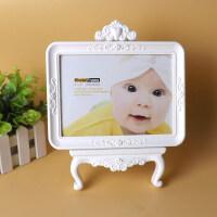 7寸创意相框摆台摆件 可爱宝宝婚纱影楼相架儿童照片画框白色 白色 7寸