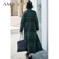【大牌清仓 5折起】Amii[极简主义]时尚睿智感 格纹毛衣外套女 冬落肩袖口袋开衫上衣