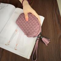 新款日韩新款编织手包女迷你手拿包流苏小包包真皮贝壳手腕包钱包